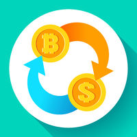 Exchange bitcoin to dollar icon, usd and btc symbols, cryptocurrency mining, blockchain technology, vector illustration.