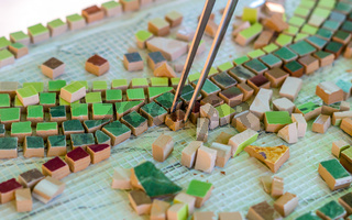 Mosaic as a ceramic or ceramic mosaic. Artistic mosaics of terracotta.