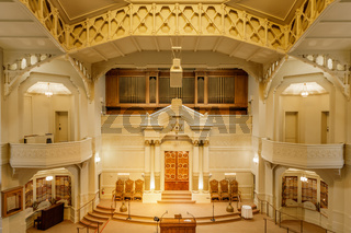 Oakland, California - September 30, 2018: Interior of Temple Sinai Reform Jewish Synagogue.