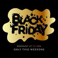 Black Friday Sale banner or poster. Modern black liquid splash background, vector illustration.