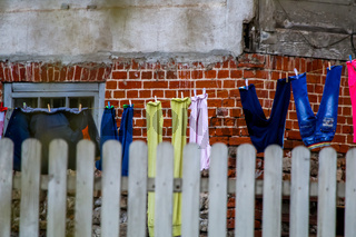 Colorful clothes laundry drying outdoor.