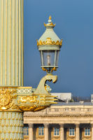 Street lamp on Concorde Square in Paris, France