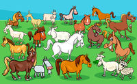 horses and goats farm animal characters group