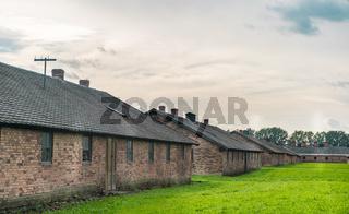 Oswiencim, Poland - September 21, 2019: Birkenau concentration camp. Death barracks. Jewish extermination camp history.