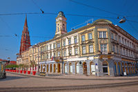 Osijek main square and cathedral street view