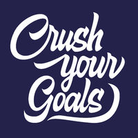 Crush your goals black lettering isolated, motivating phrase