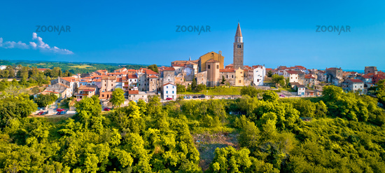 Old stone town of Buje on green hill panoramic view