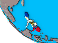 Philippines with flag on 3D globe