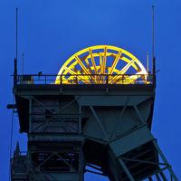 Illuminated sheave, closed Westphalia coal mine, Ahlen, North Rhine-Westphalia, Germany, Europe