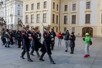 Castle Guard marching for changing of guards in front of Prague's castle