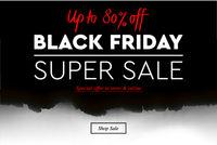 Black Friday Super Sale. Banner, poster, logo on black background, burnt paper. Discount up to 80% offer, vector illustration.