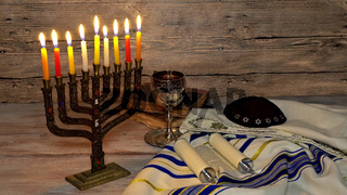 Jewish holiday, Holiday symbol Hanukkah Brightly Glowing Hanukkah Menorah