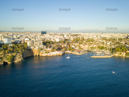 Aerial View Boats Into Kaleici Harbor Antalya