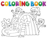 Coloring book kids on water slide 1