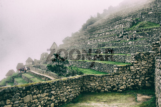 Beautiful view of ruins and agriculture terraces.