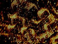 Vector golden blur consist of glowing dots on dark background