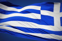 national flag of Greece against blue sky background