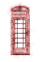 a typical London phone booth ballpoint pen doodle