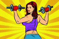 woman with dumbbells back