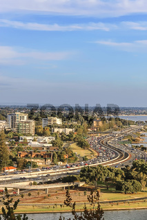 View of South of Perth skyline and winding Kwinana Freeway towards Swan River