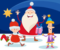 Christmas design with cartoon Santa Claus and star