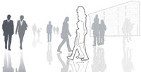 illustrated casual people in town, contour, silhouettes, isolated, white, grey