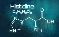 Chemical formula of Histidine on a futuristic background