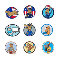 Donkey Mascot Cartoon Circle Set