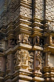 VISHWANATH TEMPLE, Carved deities, vyalas and surasundaries on wall, Western Group, Khajuraho, Madhya Pradesh, UNESCO World Heritage Site