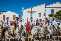 Convoy on white horses