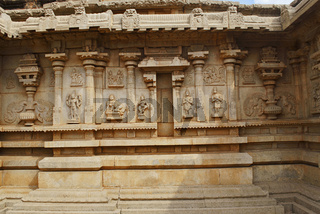 Outer wall of the main shrine, Hazara Rama Temple. Royal Center or Royal Enclosure. Hampi, Karnataka