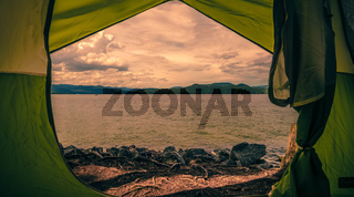 view from tent at lake jocassee camping site