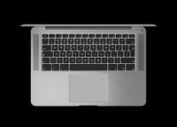 Dark silver Open laptop. Top view 3D render isolated on black