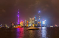 Shanghai, China - May 22, 2018: A night view of the colonial embankment skyline in Shanghai, China