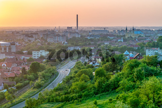 Oradea city viewed from above at sunset, Romania