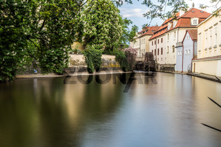 Prague river Certovka and water mill