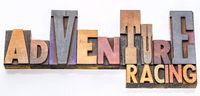 adventure racing word abstract in wood type