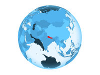 Nepal on blue globe isolated
