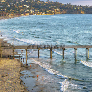Scripps Pier and coastal houses in San Diego CA