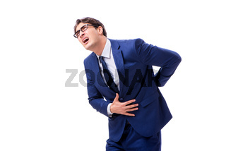 Sick and unhappy businessman isolated on white background