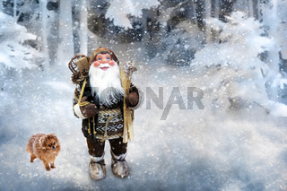 Christmas greeting card with the image of Santa Claus.