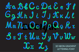 Neon 3D Typeset with Rounded Shapes. Tube Hand-Drawn Lettering. Font Set of Painted Letters. Night Glow Effect or liquid. Trendy alphabet Latin letters from A to Z. Vector illustration.