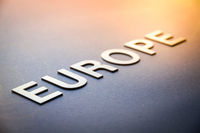 Word Europe written with white solid letters