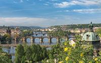 Vltava river with great bridges in Prague