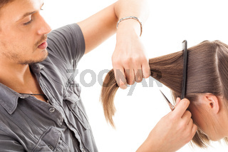 Professional hairdresser with long hair model, isolated on white