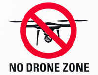 illustration sign prohibiting the use and flying of drones with written warning of