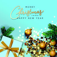 Merry Christmas and Happy New Year banner. Xmas design of sparkling lights garland, with realistic gifts box, green pine branch, glitter gold confetti. Christmas poster, vector illustration.