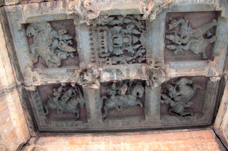 Ceiling sculpture in open mandapa, depicting the guardians to the eight directions ,ashtadikpalaka. Panchakuta Basadi, Kambadahalli, Mandya district