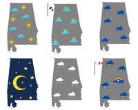 Karten von Alabama mit verschiedenen Wettersymbolen - Maps of Alabama with various weather symbols