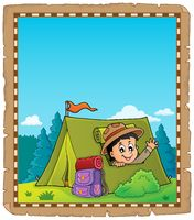 Parchment with scout in tent theme 2
